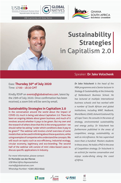 Ghana South Africa Business Chamber Invitation to Sustainability Strategies In Capitalism 2.0 Webinar