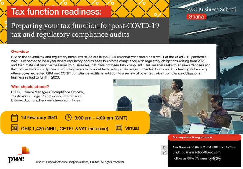 PwC Business School Virtual Masterclass on Tax Function Readiness